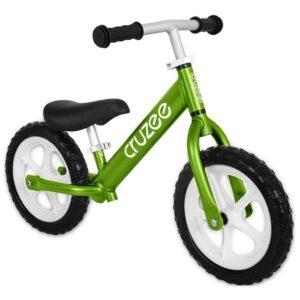 cruzee balance bike green with white wheels xchange sports