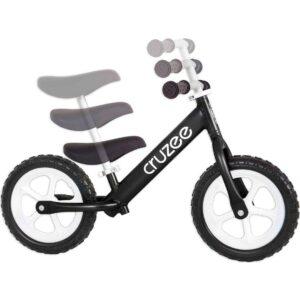 cruzee balance bike black with white wheels adjustments xchange sports