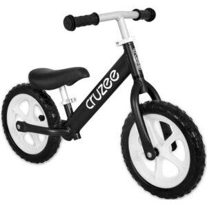 cruzee balance bike black with white wheels xchange sports